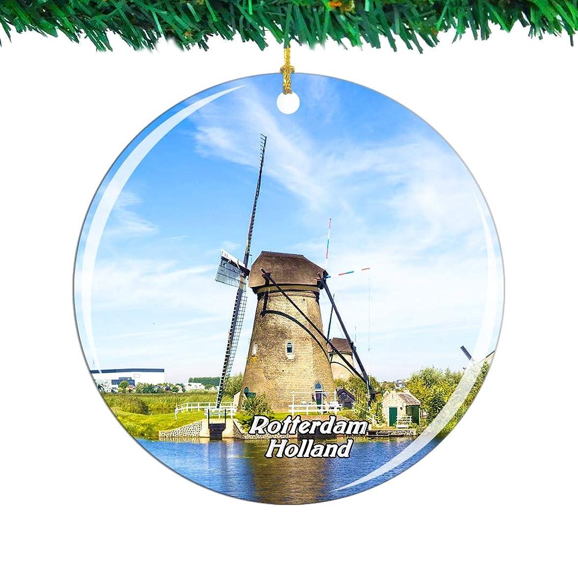静的非常にいくつかのWeekino Holland Kinderdjik Rotterdamクリスマスオーナメントシティ旅行お土産コレクション両面 磁器2.85インチ ぶら下がっている木の装飾