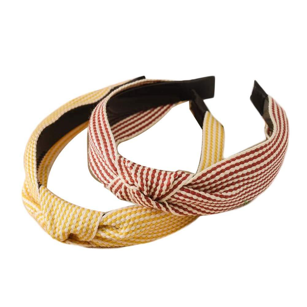 3 Pcs Wide Plaid Headbands Plain Turban Twist Knotted Headband Checkered Cross Knot Hair Hoop Solid Colors Hairbands