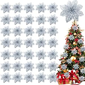 TURNMEON 36 Pack Christmas Flowers Decorations, Glitter Poinsettia Christmas Tree Ornaments, 4″ Artificial Silk Flowers Picks for Christmas Wreaths Garland Holiday Decoration (Silver)