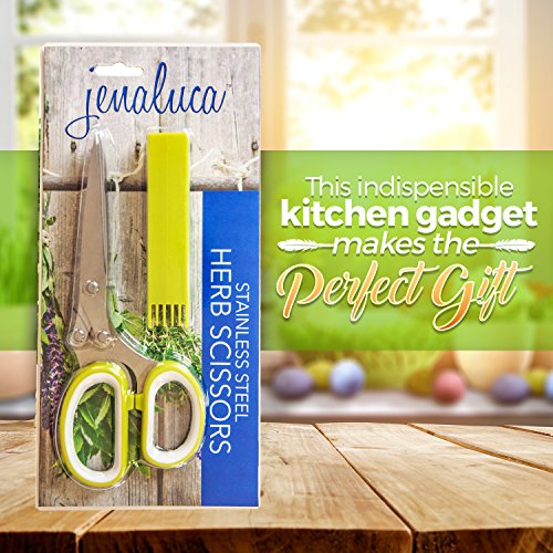 Jenaluca Herb Scissors with 5 Blades and Cover - Cool Kitchen Gadgets - Cutter, Chopper and Mincer - Sharp Heavy Duty Shears for Cutting, Shredding and Cooking Fresh Garden Herbs