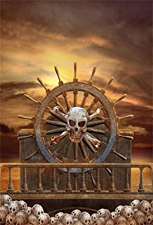 AOFOTO 5x7ft Skull Pirate Ship Backdrops for Party Horror Rudder Vintage Wooden Deck Corsair Boat Halloween Photography Background Boys Birthday Decoration Kids Adults Portrait Photoshoot Studio Props