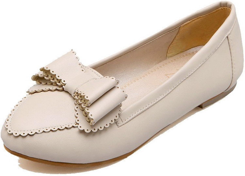 AllhqFashion Women's Solid Microfiber Low Heel Round-Toe Pumps-shoes