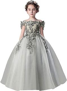 Off Shoulder Lace Princess Pageant Costume Wedding Flower Girls Dress