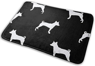 Basenji Silhouette Dog Black_24497 Doormat Entrance Mat Floor Mat Rug Indoor/Outdoor/Front Door/Bathroom Mats Rubber Non Slip