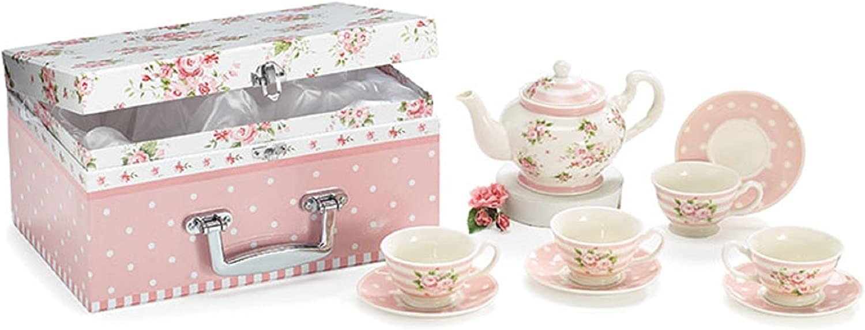 Child's Tea Set Porcelain Dainty Pink Washington Mall Roses Dot Regular store Polka i Saucers