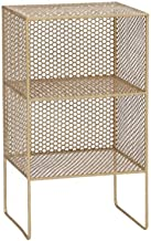 Kusso Gold Square Metal Shelf Unit with Three Shelves for Bedroom Bathroom or Home Office Wire Geometric Design