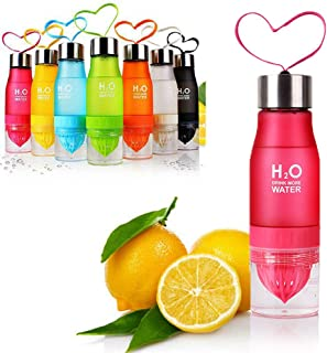 YEAKOO Lemon Juice Fruit Water Bottle, 650ml Infuser Sports 2 en 1 Bottle, Frosted Plastic Fruit Squeezer Cup with Two Extra Leakproof Rubber Rings Portable for Outdoor Healthy Drinks (Rose)