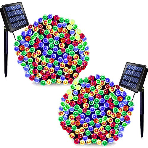 SOLARBABY Solar Christmas Lights,72ft 200 LED Outdoor Solar String Lights Waterproof Solar Power String Lights Outdoor Decoration Lighting for Christmas Wedding Holiday Party Multicolor 2 Pack