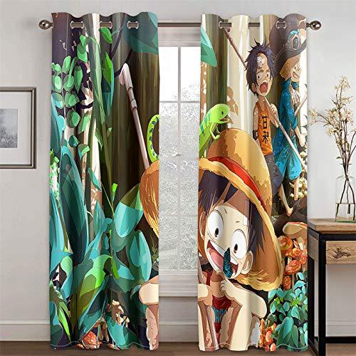 Cortinas con Patrón De Dibujos Animados Y Anime para Sala De Estar Y Dormitorio, Cortinas Opacas Y con Aislamiento Térmico, Juego De 2 (Total Width) 280x(Height) 200cm