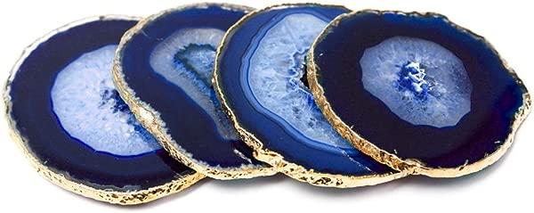 现代家居四件套天然玛瑙石杯垫蓝色 W 金边