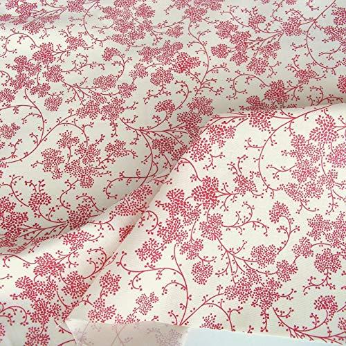 TOLKO Baumwollstoff aus Oeko-Tex Baumwolle | Bunte Blumen Muster | weiche Baumwoll-Popeline zum Nähen Dekorieren | Kleiderstoff Dekostoff Bezugsstoff Meterware 50cm (Creme Blume Rot 2)