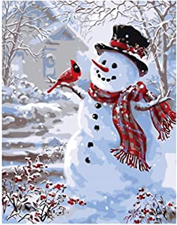 DIY Paint by Numbers for Adults Kids Paint by Numbers Christmas DIY Painting Acrylic Paint by Numbers Painting Kit Christmas Snowman Home Wall Living Room Bedroom Decoration