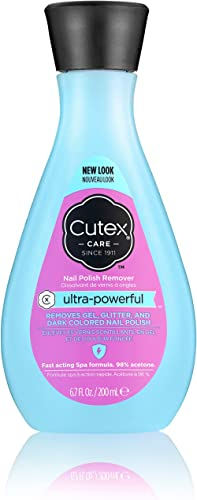 Cutex Ultra-Powerful Nail Polish Remover for Gel, Glitter, and Dark Colored Paints, Paraben Free, 6.76 Fl Oz