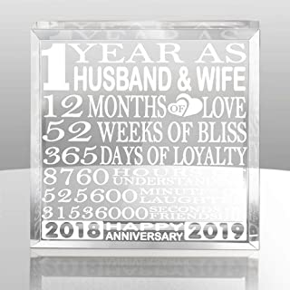 Kate Posh - 1 Year as Husband and Wife - Our First Paperweight and Keepsake - Includes 2018 (Marriage Year) and 2019 (1st Anniversary Year) - 1st for Couples
