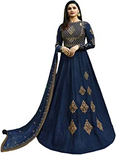 Style Amaze Women's art silk Embroidered Semi Stitched Anarkali Salwar Suit (Navy Blue Color_SAMM8075)