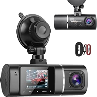 $62 » Sponsored Ad - Dual Dash Cam Hardwire Kit Included FHD 1080p+1080p Front Inside Cabin Car Camera Driving Recorder with Inf...