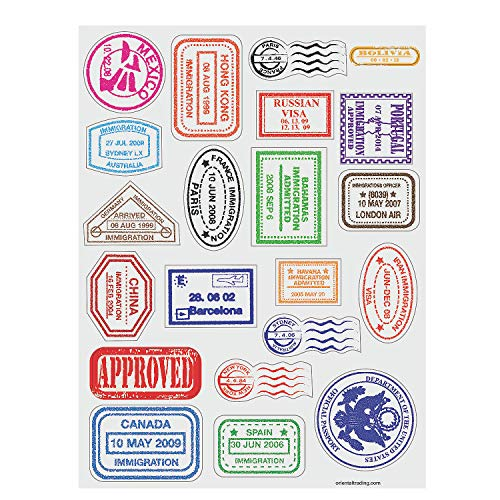 Price comparison product image Passport Stamp Sticker Sheets (480 Stickers)