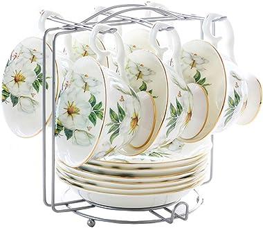 高台付アソートカップ&ソーサー 6客セット ティーコーヒー兼用カップ セット ヨーロッパ風 エレガント 花柄 カップラック付き