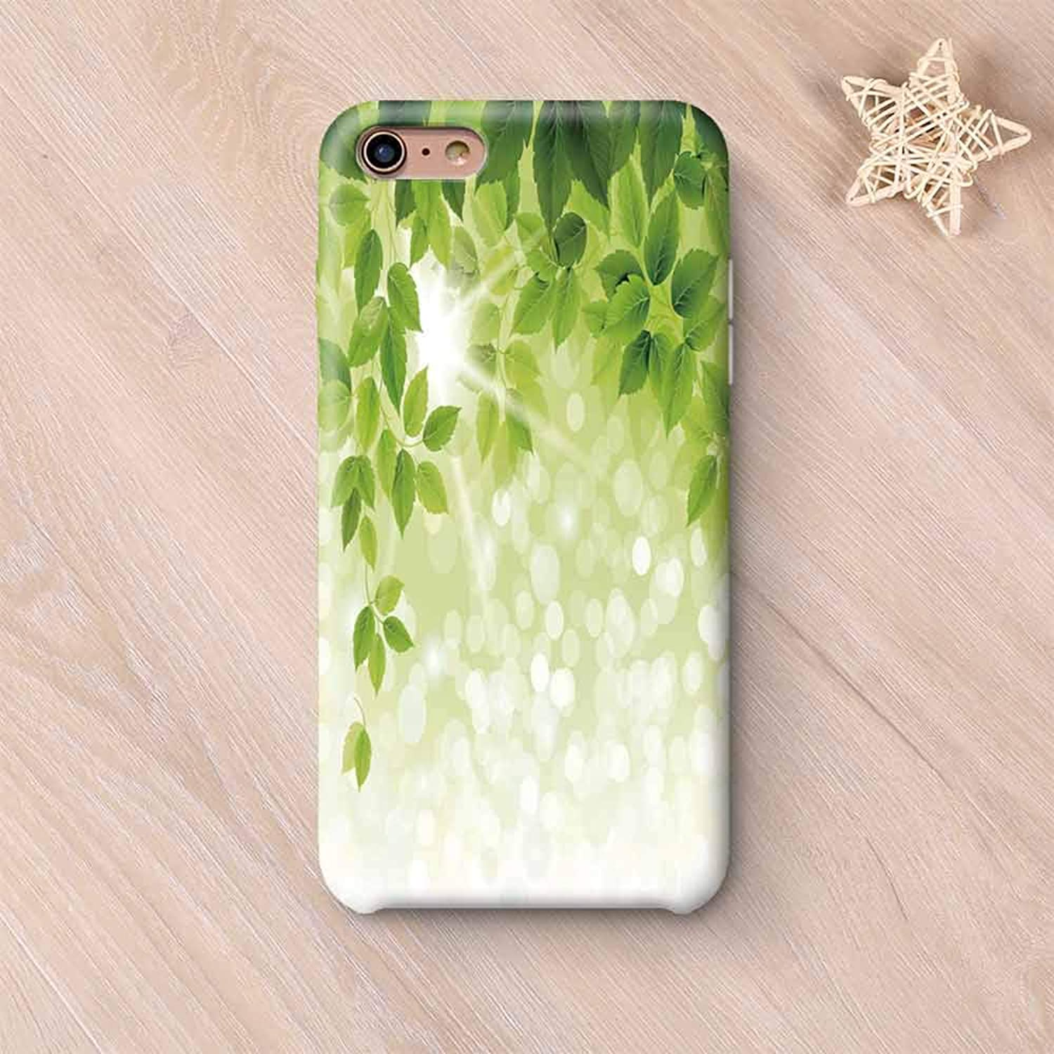 Leaf Hard Shell Compatible with iPhone Case,Summer Spring Branch Leaves Foliage on Abstract Backdrop Decorative Compatible with iPhone 7/8,iPhone 6 Plus / 6s Plus