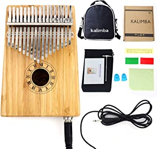 $29 » Smiger Kalimba 17 key Thumb Piano Solid Bamaboo Gloss Hand Pianos with Pickup 10 Foot Cable Study Book Carrying Bag for Be...