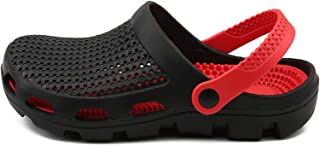 strimusimak Beach Sandals Mules Shoes Summer Multi Holes Clogs Anti-skid Slip-on Sandals Shower For Mens Wear Black 40