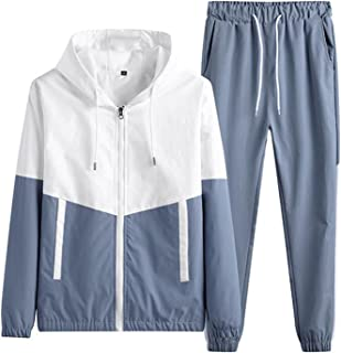 Men's casual sportswear 2-piece sports jogging hooded cardigan sports suit,Tracksuit Zip Up Hooded Top & Bottom Trouser Jo...