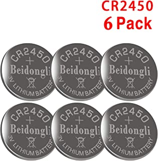 6 Pack Beidongli CR2450 Battery 3V Lithium Battery Coin Button Cell (CR2450-6PACK)