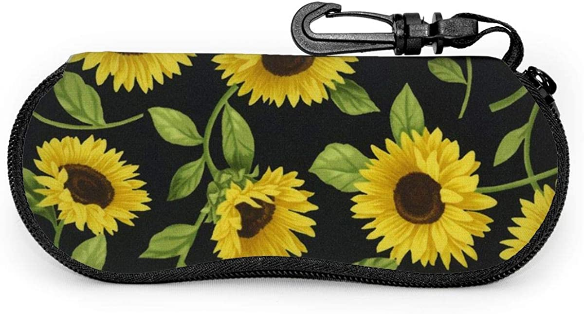 Vintage Sunflower Butterfly Oil Painting Artwork Sunglasses Soft Case Ultra Light Neoprene Zipper Eyeglass Case With Key Chain