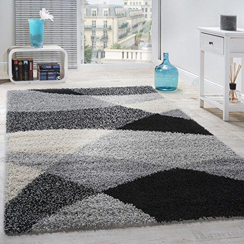 Alfombra Shaggy Pelo Alto Pelo Largo Estampada En Gris Negro Blanco, tamaño:140x200 cm