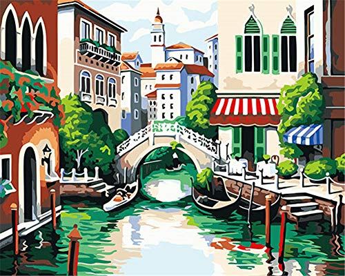 Kit de pintura por números, Amiiba Venecia 40,6 x 50,8 cm pintura acrílica por número Wall Art Crafts (Venecia, con marco)