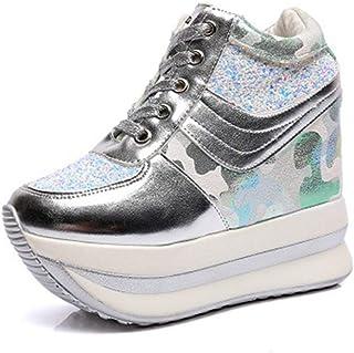 Zapatos de Plataforma para Mujer Zapatos de Camuflaje de Lentejuelas de Moda Zapatos de Cordones Femeninos Zapatos de cuña...