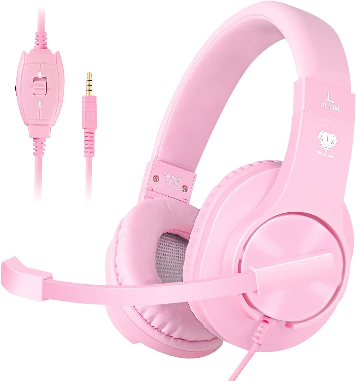 BUTFULAKE Stereo Gaming Headset for PS4, Xbox One, Nintendo Switch, Adjustable Earmuffs and Over-All Noise Isolation, Lightweight 3.5mm Wired Volume Control with Mic for Laptop PC (Pink)