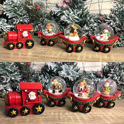 Mezzaluna Gifts Weihnachtsmann-Zug mit drei Schneekugel-Kutschen (Rotkehlchen und Schneemann)