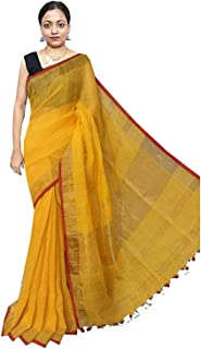 Red Saree Women's Woven Linen Saree With Blouse Piece (Red & Yellow)