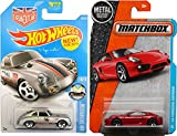 Porsche 356A Outlaw Silver Hot Wheels & Matchbox '14 Porsche Cayman Red 2016 City HW Showroom in PROTECTIVE CASES