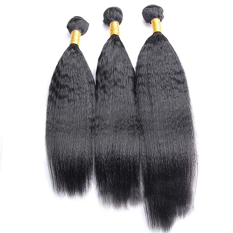 インディカ権利を与えるハイランドHOHYLLYA 変態ストレートブラジル人毛エクステンションナチュラルブラック(10インチ-28インチ、1バンドル)かつら (色 : 黒, サイズ : 28 inch)