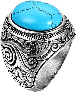 JewelryWe Gioielli Anello da Uomo, Anello Grande, Classico Retro, Acciaio Inossidabile, Azzurro Argento (con Borsa Regalo)