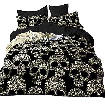 Suncloris,Golden Skull,3PC Microfiber Skeleton Bedding Sheet Set .Included 1Duvet Cover,2Pillowcase no Comforter Inside   Queen