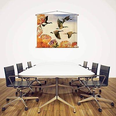 Artzfolio Birds Flying Silk Painting Tapestry Scroll Art Hanging 39.3 X 30Inch