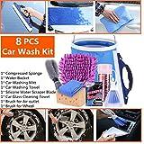 Limpieza Kit de Coche Moto Limpiar Herramientas 8 PICS - Wash Mitt, Sponge, Toalla de absorción de agua, Paños de microfibra, Enjugador, Cepillo, Cubo de agua
