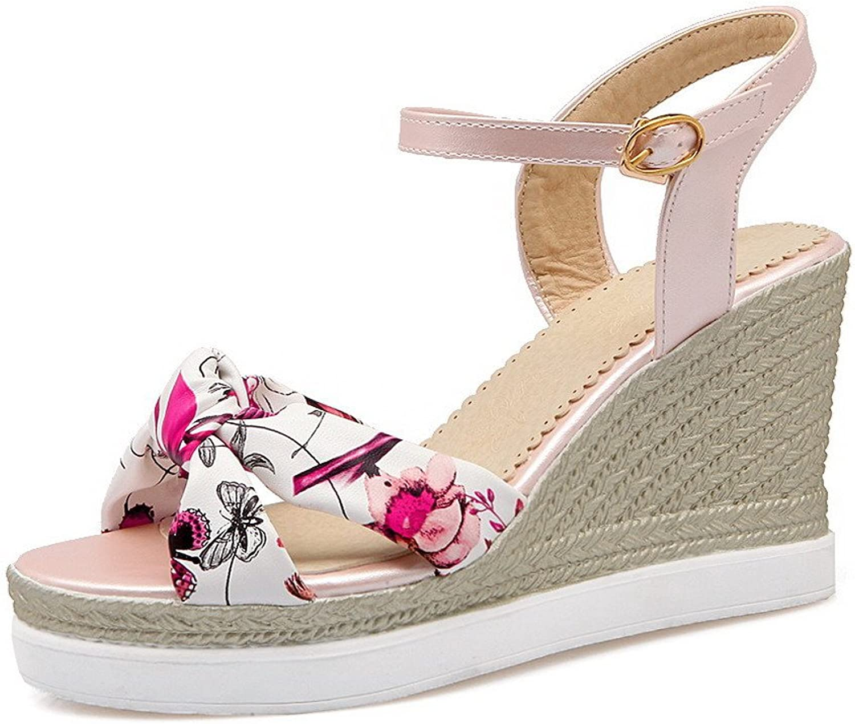 WeenFashion Women's High-Heels Soft Material Assorted color Open Toe Platforms & Wedges