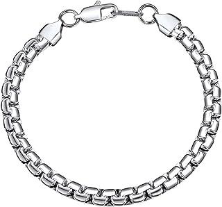 Bandmax 316L Stainless Steel Silver Flat Hand Chain Bracelet Jewelry for Women Men Engraved Punk Curb Link Bracelet 6MM/0....