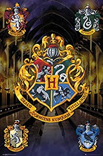 Harry Potter - Movie Poster/Print (House Crests - Hogwarts, Gryffindor, Slytherin.) (Size: 24 inches x 36 inches)