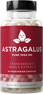 Astragalus Pure 1000 MG – Healthy Immunity Function, Stress Support, Potent Strength for Seasonal Protection – Full-Spectrum & Standardized – 60 Vegetarian Soft Capsules
