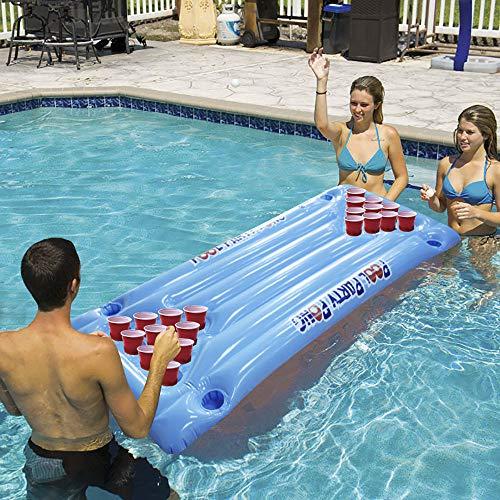 qaz Juego De Juguete Inflable Flotante Pingpong para La Piscina Juego De Flotador Inflable Plegable Boya Juego De Tenis De Mesa Juguete Inflable Juego Acuático Deportes Acuáticos,145 * 60cm