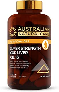 Australian NaturalCare - Nutritional Oils - Super Strength Cod Liver Oil 1g Vitamin Capsules for Nutritional Support, Healthy Immune System Function and Bone Health (90 Soft Capsules)