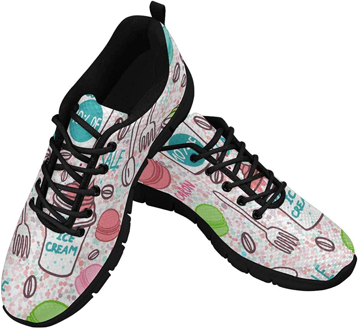 InterestPrint Macarons Background Women's Breathable Comfort Mesh Fashion Sneakers