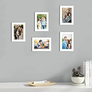 Art Street Set of 5 White Wall Photo Frame, Picture Frame for Home Decor with Free Hanging Accessories (Size -5x7 Inchs)