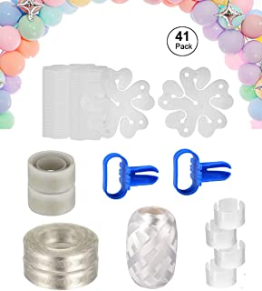 [41 Pack] Balloon Arch Garland Decorating Strip Kit Includes Balloon Decorating Strip, Balloon Tying Tool, Dot Glue, Ribbon, Flower Clips and Ring Clips for Party Supplies Decorations