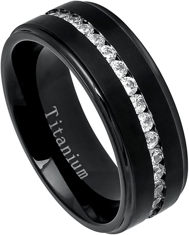 Directly managed store Double Accent 8MM Comfort Fit Titanium Limited time for free shipping Wedding Band Brushe Black